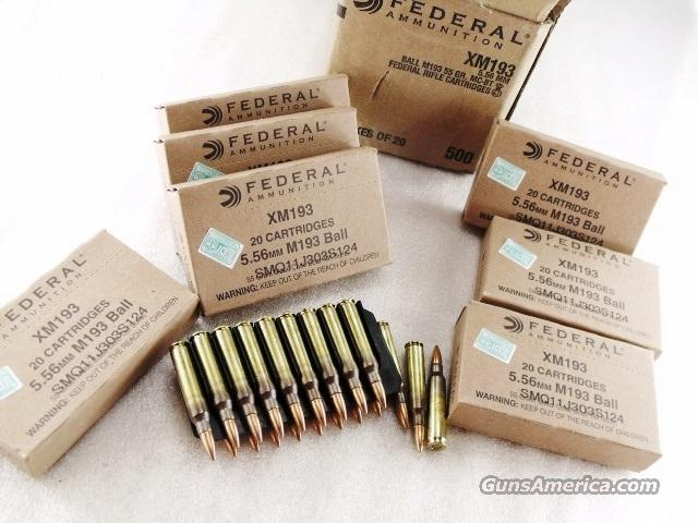 Ammo: Federal .223 FMC BT 55 grain 500 Round Case of 25 Boxes XM193 Ammunition Cartridges Full Metal Case Jacket Boat Tail Bullets 223 Remington caliber 5.56 556 NATO   Non-Guns > Ammunition