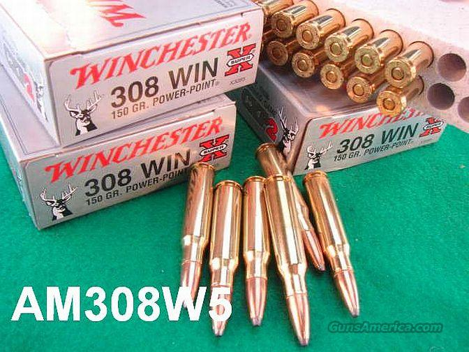Ammo: .308 Winchester 100 Round Lot of 5 Boxes 150 grain Soft Point Power Point 762 NATO caliber 7.62x51  Non-Guns > Ammunition