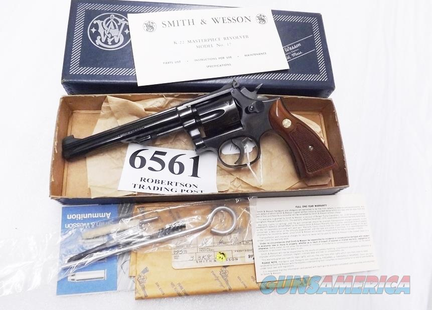 Smith & Wesson .22 LR Model 17-4 K-22 Masterpiece 6 inch blue 1978 Pinned & Recessed Original Box Kit Papers Square Butt 6 Shot Goncalo 100502  Guns > Pistols > Smith & Wesson Revolvers > Med. Frame ( K/L )