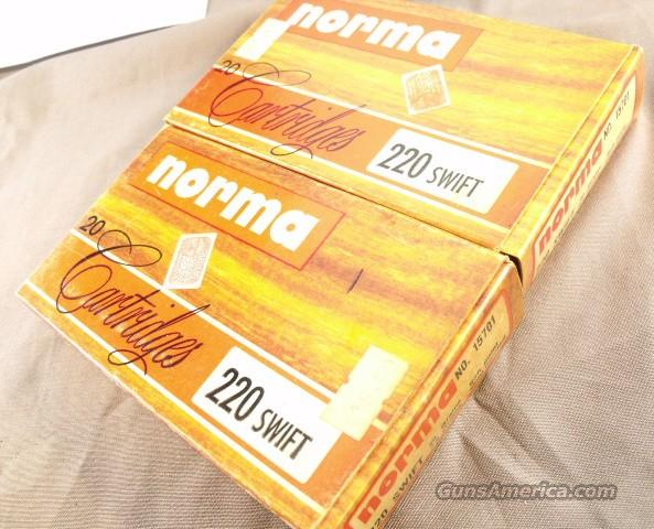 Ammo: .220 Swift Norma 25 Rounds Early 1980s w/Boxes Exc  Non-Guns > Ammunition