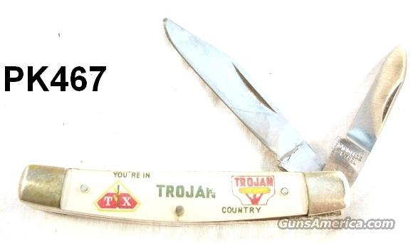 Knife Japan Sabre Advertiser Trojan Hybrid Cornseed VG Early 1960s  Non-Guns > Knives/Swords > Knives > Folding Blade > Hand Made