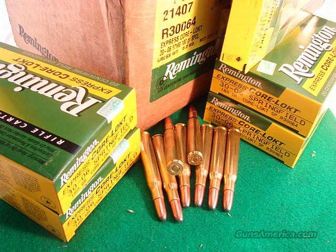 Ammo: .30-06 Remington 180 grain 20 Round Boxes Core Lokt Round Nose Soft Point 3006 30 06 Core Locked Ammunition Cartridges  Non-Guns > Ammunition