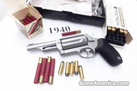 Taurus .45 .410 Judge model 4410 3 inch Chamber 4 inch Barrel Stainless 45 Long Colt and 410 gauge Shotgun Shell Shotshell Interchangeably Near Mint in Box 2441049MAG .45/.410  Guns > Pistols > Taurus Pistols/Revolvers > Revolvers