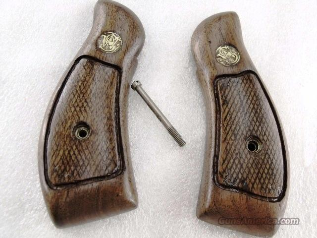 Grips S&W K L Round Butt Service Magna style 1970s Goncalo Alves Good Refinish Smith & Wesson  Non-Guns > Gunstocks, Grips & Wood