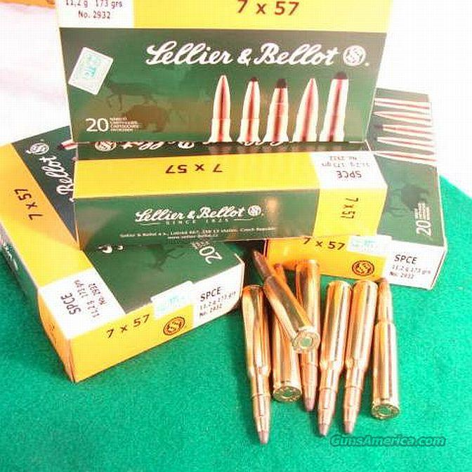 Ammo: 7mm Mauser 20 Round Boxes 7x57 S&B Sellier & Bellot Czech 173 grain SPCE Nosler type Soft Point Bullets Ammunition Cartridges  Non-Guns > Ammunition