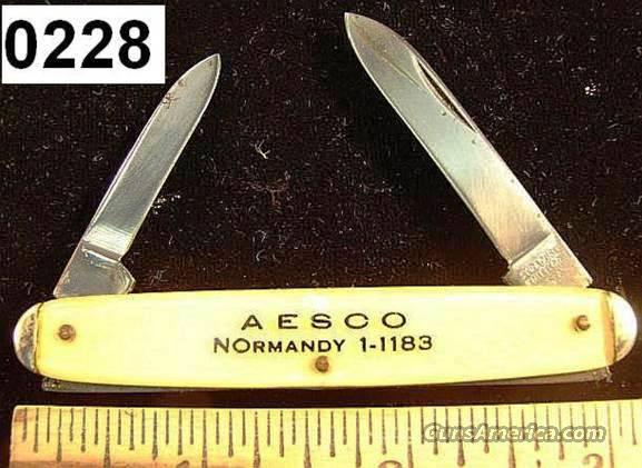 Knife: Syracuse Knife Co Imit. Pearl Aesco Adv. Knife Exc 1950s  Non-Guns > Knives/Swords > Knives > Folding Blade > Imported
