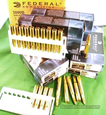 Ammo: .30-06 Federal 200 Round Factory Case of 10 Boxes Power Shok 180 grain Soft Point 3006 30-06 Soft Point Cheaper than Military Loads!  3006 B Ammunition Cartridges  Non-Guns > Ammunition