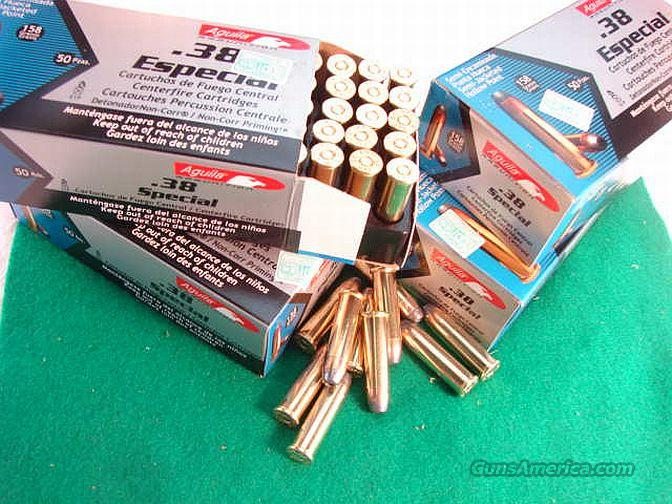 Ammo: .38 Special Aguila 300 Round Lot of 6 Boxes Non +P 158 grain Jacketed Hollowpoint 900 fps Ammunition Cartridges 38 Spl Remington Affiliate   Non-Guns > Ammunition