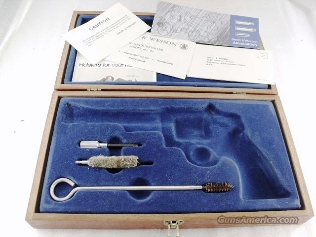 Presentation Case Smith & Wesson Factory Walnut S&W Box ca. 1975 for 6 1/2 inch N Frame Model 29, 29-1, 29-2 Original Velvet Plastic Interior Brass Hinges Excellent Kit Manual & Papers  Non-Guns > Gun Cases