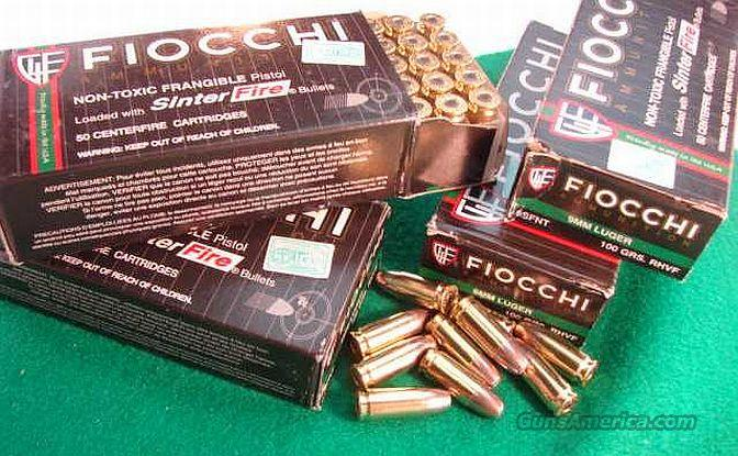 Ammo: 9mm Fiocchi 100 grain +P 500 Round Lot of 10 Boxes Frangible Mag Safe Mag-Safe or Glaser Safety Slug clone Ammunition Cartridges  Non-Guns > Ammunition
