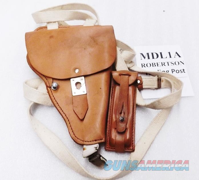 German Leather Shoulder Holster for Makarov PPK P64 size pistols East German Police 1980s Production Excellent MDL1A with Magazine Case  Non-Guns > Holsters and Gunleather > Revolver
