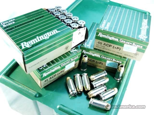 Ammo: .45 ACP +P Remington 25 Round Boxes Golden Saber 185 grain Bonded Jacketed Hollow Point Flying Ashtray Black Talon type Ammunition Cartridges 45 Automatic  Non-Guns > Ammunition