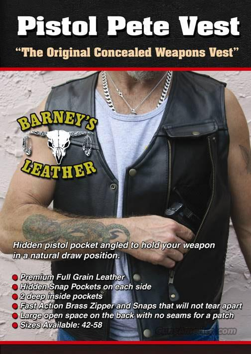"BARNEY'S LEATHER Pistol Pete Leather Vest Size 52""  Non-Guns > Holsters and Gunleather > Concealed Carry"