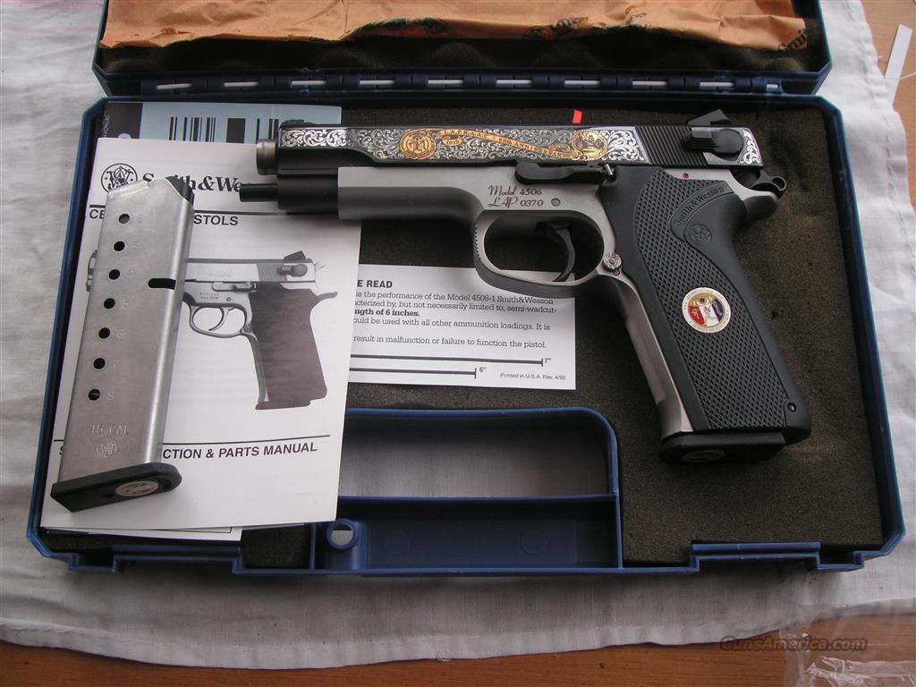 S&W Model 4506 engraved for LAPD ONLY 500 made in 2000  Guns > Pistols > Smith & Wesson Pistols - Autos > Steel Frame