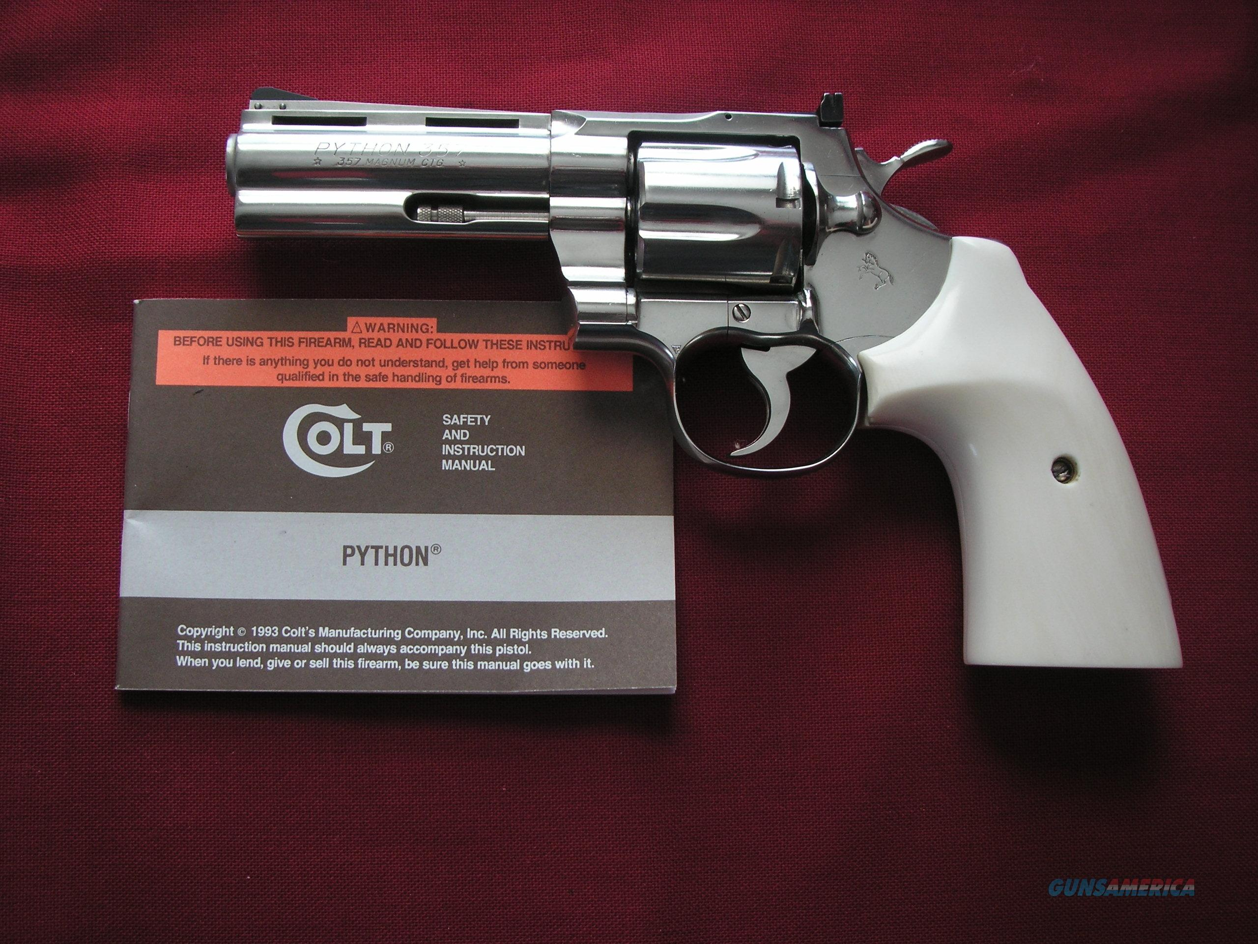 COLT PYTHON 4 INCHES, NICKLE FINISH WITH SOLID IVORY GRIPS  Guns > Pistols > Colt Double Action Revolvers- Modern