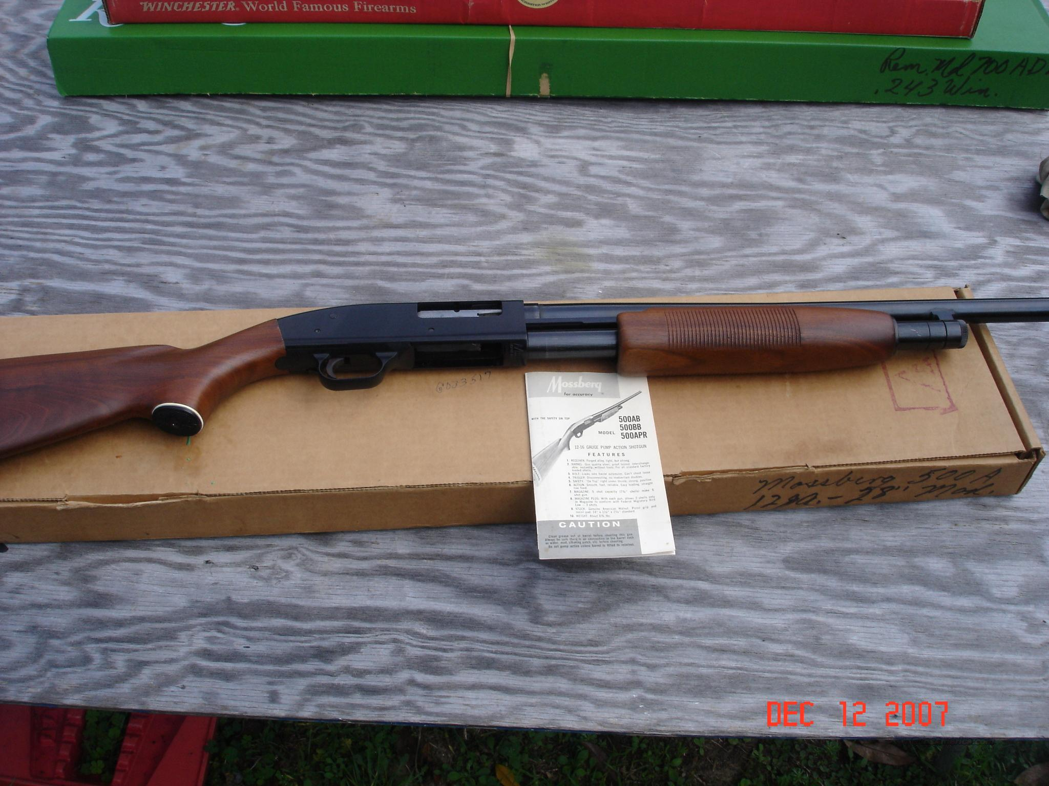 Mossberg Model 500A Pump  Guns > Shotguns > Mossberg Shotguns > Pump > Sporting