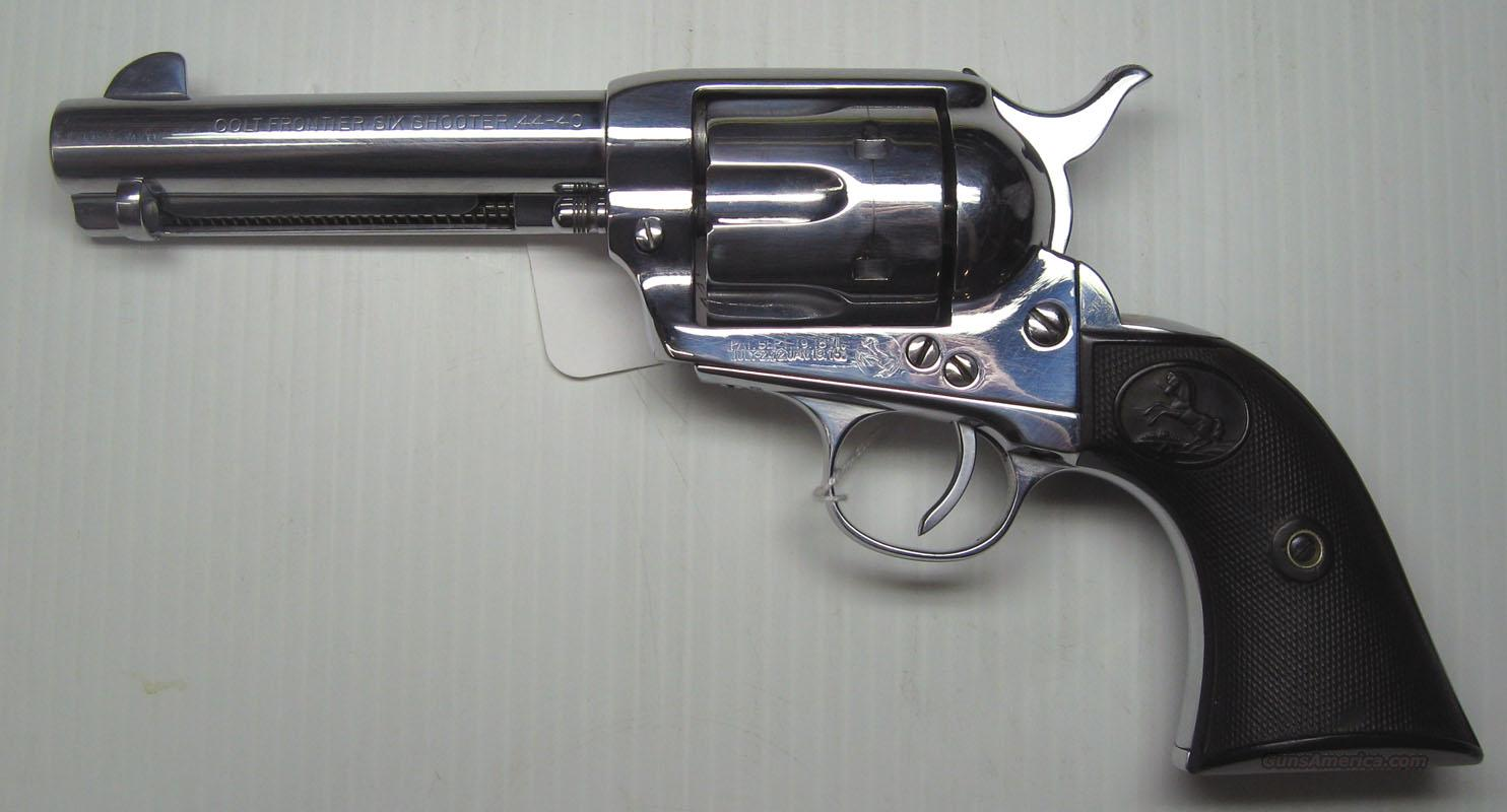 "Colt S.A. Army 4 3/4"" Nickel Re-Plated 44-40  Guns > Pistols > Colt Single Action Revolvers - 1st Gen."