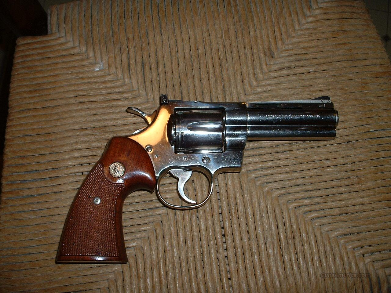 "Colt Python...Nickle..4""     .357  Guns > Pistols > Colt Double Action Revolvers- Modern"