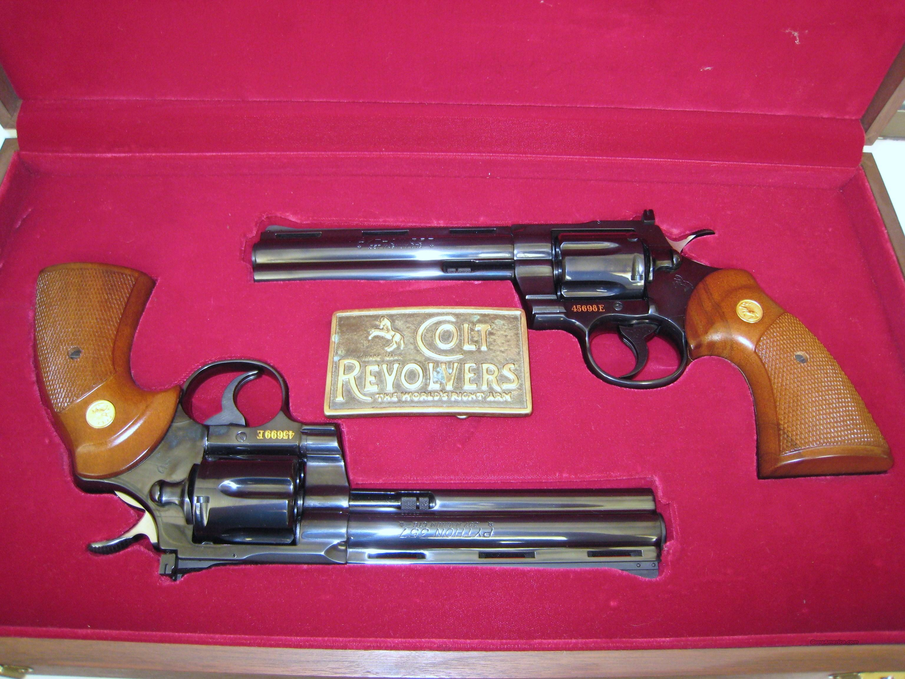 Python Set with Consecutive Serial Numbers in Gold Inlay  Guns > Pistols > Colt Double Action Revolvers- Modern