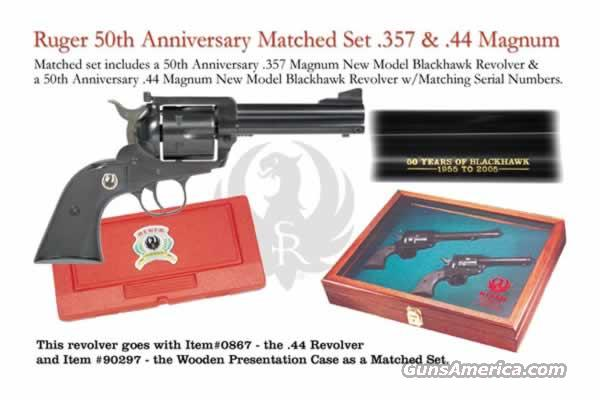 Ruger Blackhawk 50th Anniversary .357 and .44 Matched Pair in Presentation Case Big Savings  Guns > Pistols > Ruger Single Action Revolvers > Blackhawk Type