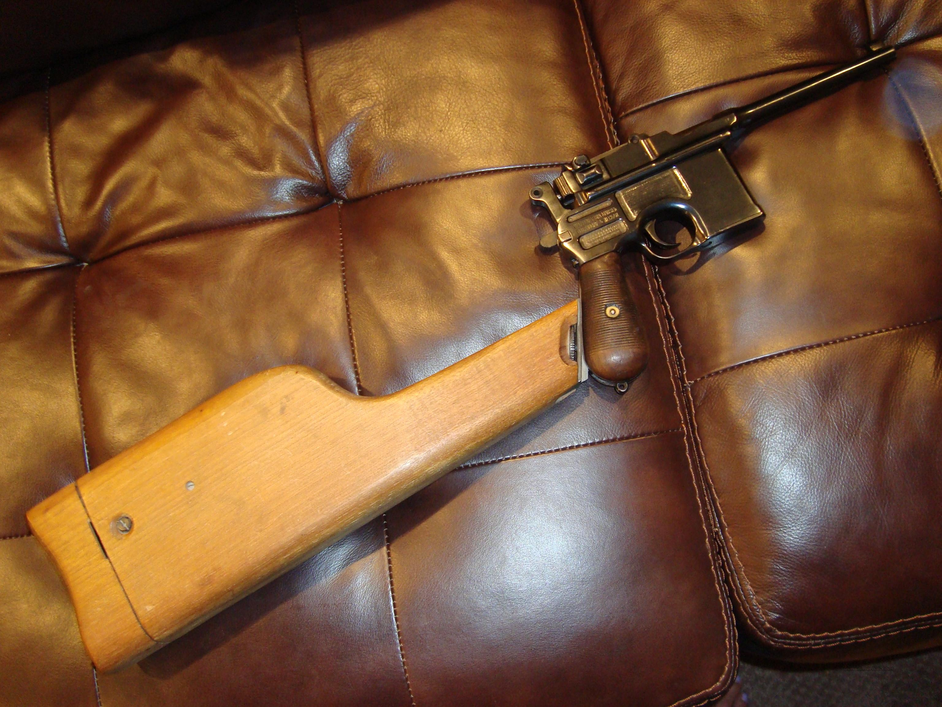 BROOMHANDLE MAUSER, WOOD STOCK, .30 CAL, ALL MATCHING GUN, PROFESSIONAL RESTORATION  Guns > Pistols > Mauser Pistols