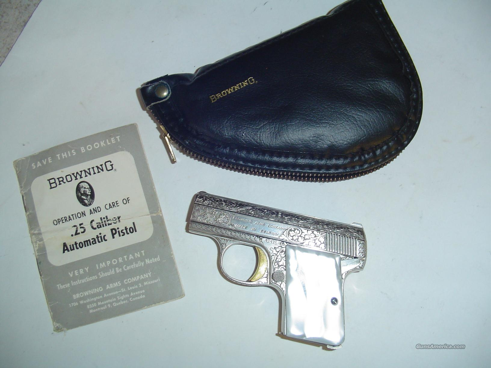 MINT RENAISSANCE BABY BROWNING WITH ORIGINAL LEATHER POUCH AND OWNER'S MANUAL!  Guns > Pistols > Browning Pistols > Baby Browning
