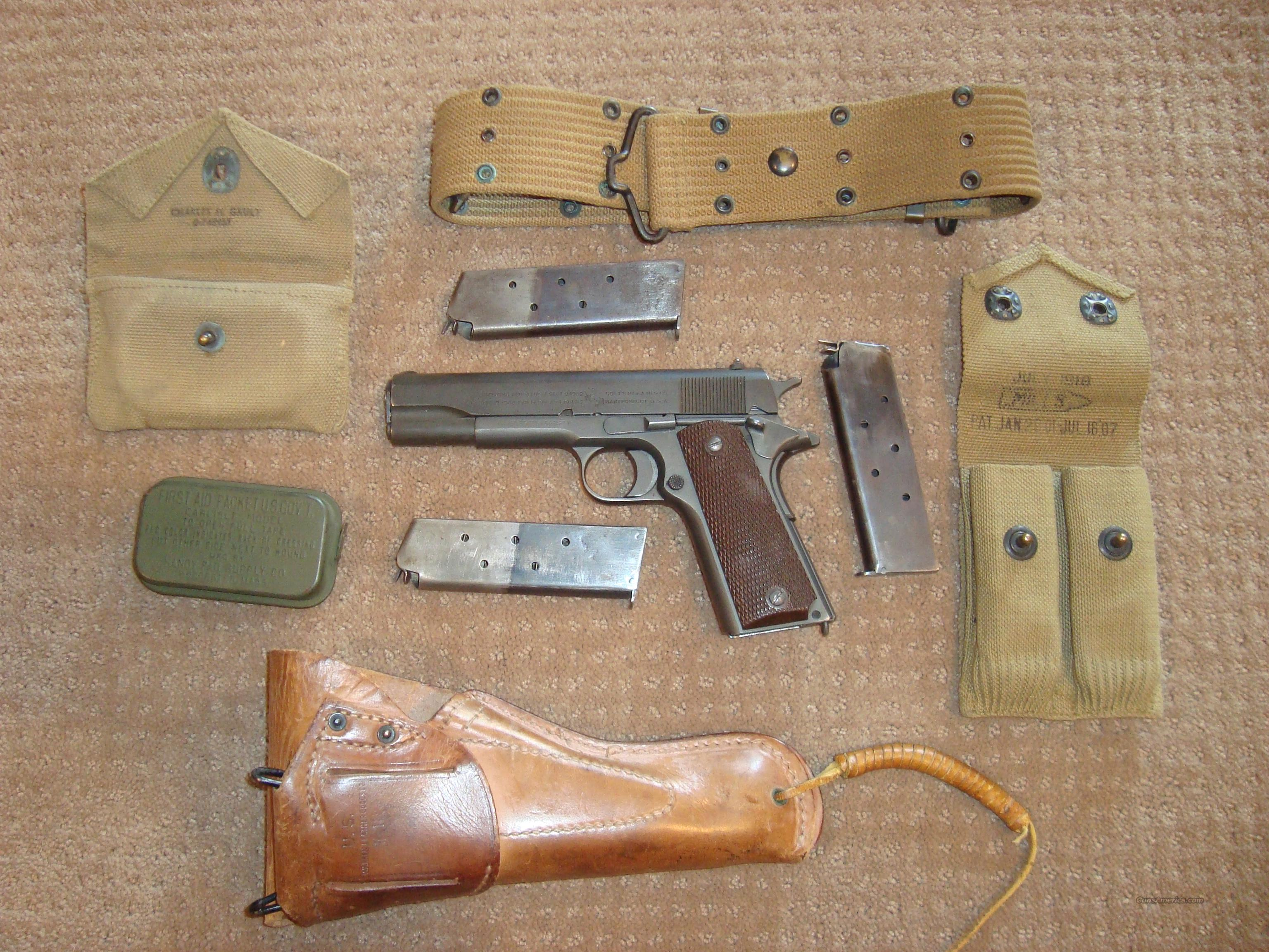 COMPLETE COLT 1911 RIG - WW2 WITH HOLSTER, BELT... for sale