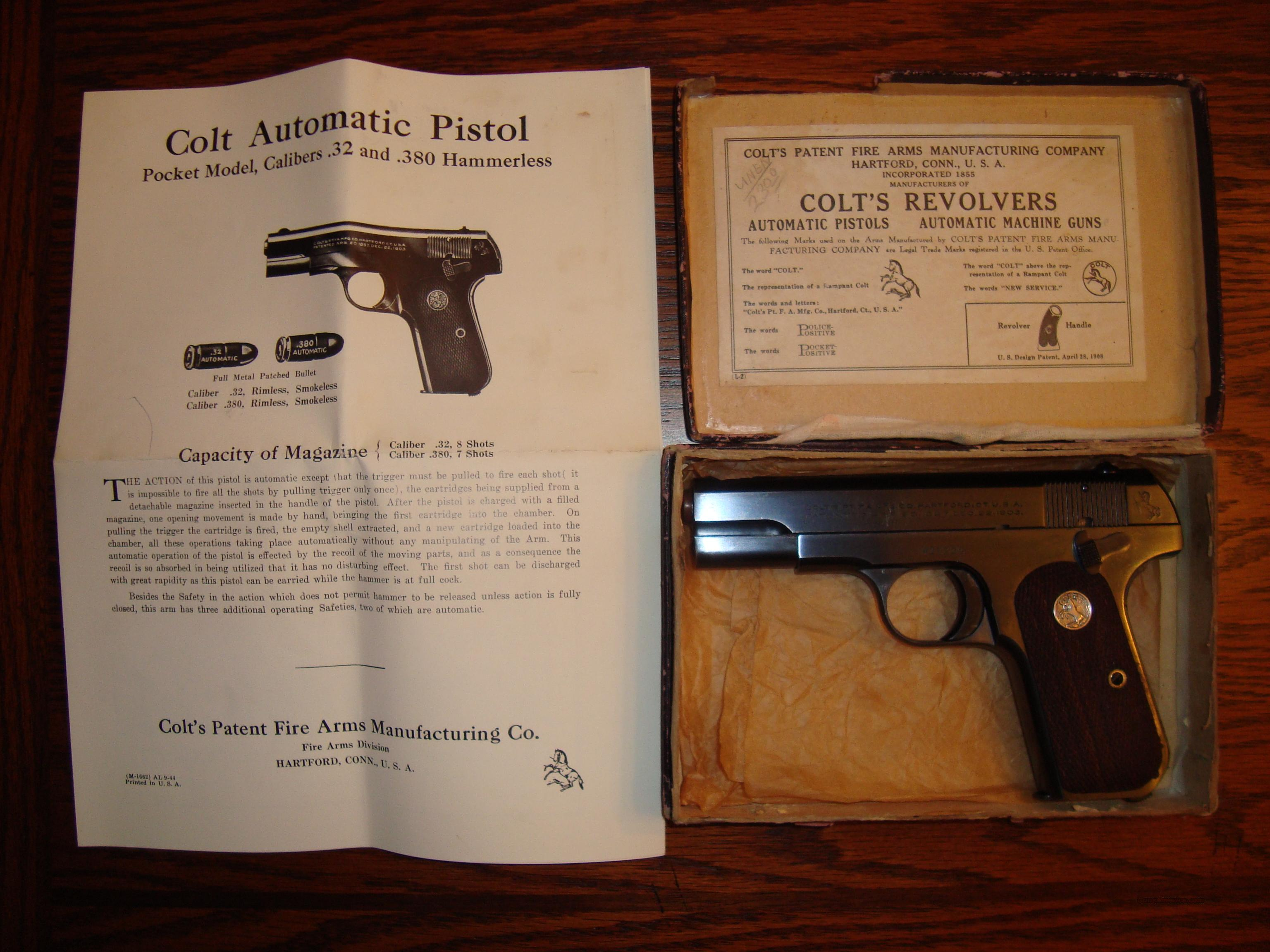 Like New Colt 1903 Hammerless Pocket Pistol with Box & Papers .32 cal  Guns > Pistols > Colt Automatic Pistols (.25, .32, & .380 cal)