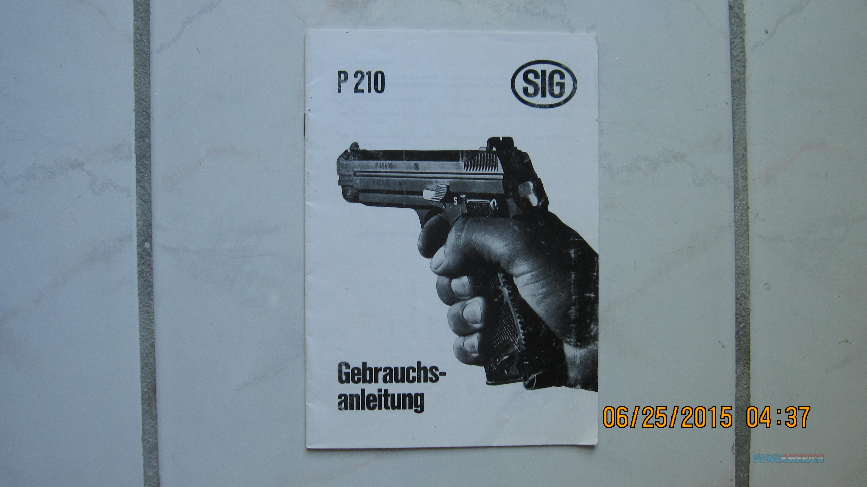 SIG P210 Original Instructions Manual in German  Non-Guns > Manuals - Print