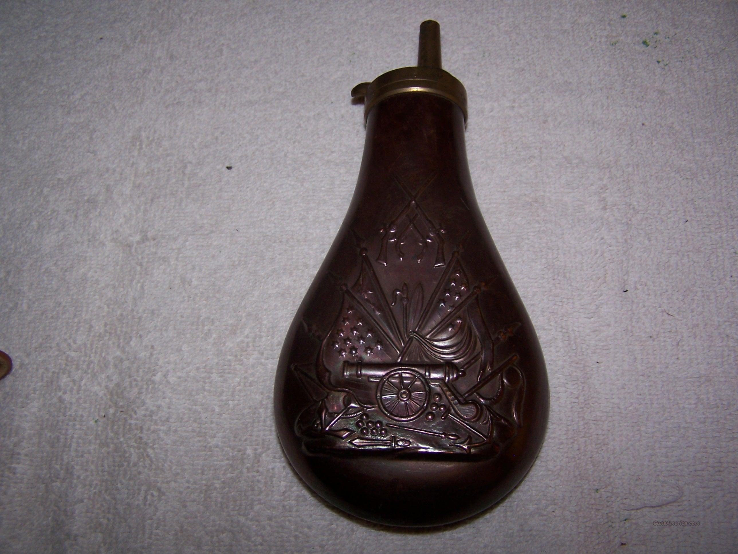 Brass black powder flask.  Non-Guns > Black Powder Muzzleloading