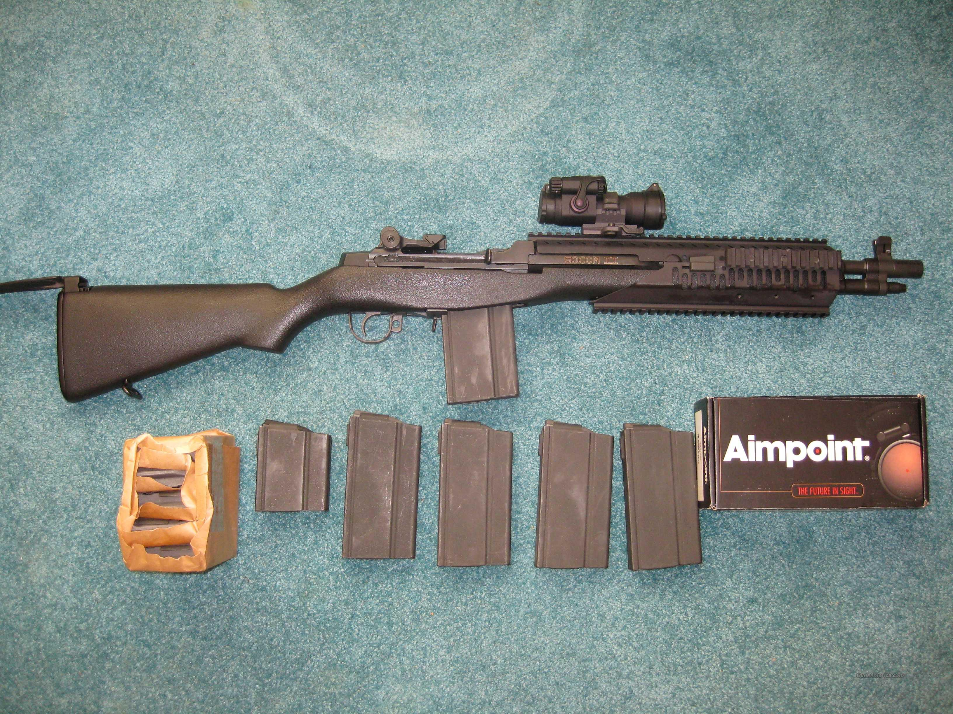 SPRINGFIELD M1A SOCOM II QUAD RAIL, AIMPOINT, 11 MAGS, 500 ROUNDS PACKAGE  Guns > Rifles > Springfield Armory Rifles > M1A/M14