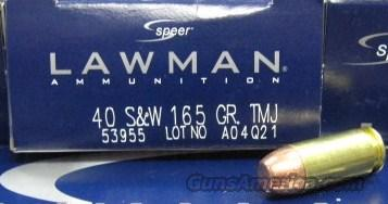Speer 40s&w 165Gr TMJ S&W 1000 Rounds Ammo New Lawman  Non-Guns > Ammunition
