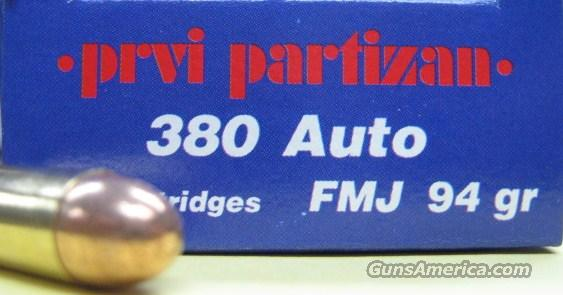 Prvi 380 Auto 94Gr FMJ 50 Rounds Ammo New  Non-Guns > Ammunition