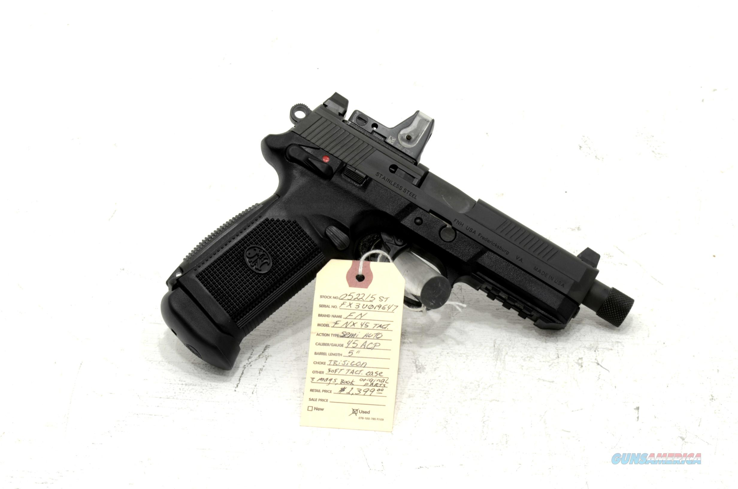 "FNH, FNX-45 Tactical .45acp pistol  5"" barrel with Trijicon sight  Guns > Pistols > FNH - Fabrique Nationale (FN) Pistols > FNX"