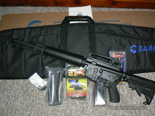 Sabre AR-15 223 / 5.56 New in Box, This is Mid Length, 6-Pos, 2-30 Rnds Mags, Otis Cleaning Kit, Tactical Carrying Case, Lock and more. New In Box.. Only 1 in stock  Guns > Rifles > AR-15 Rifles - Small Manufacturers > Complete Rifle