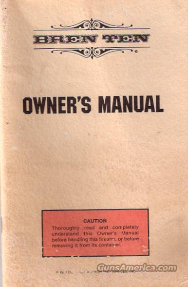 BREN TEN OWNER'S MANUAL  Non-Guns > Manuals - Print