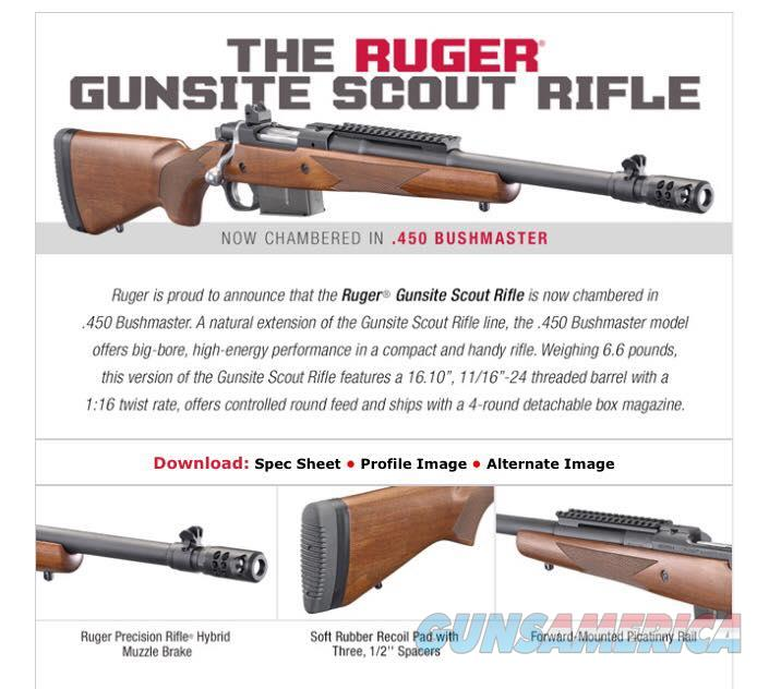 RUGER M77 GUNSITE SCOUT 450 BUSHMASTER 77 6837 NOT AR15 OR AMERICAN 450 BOLT WALSH GUN & TACKLE  Guns > Rifles > Ruger Rifles > Model 77