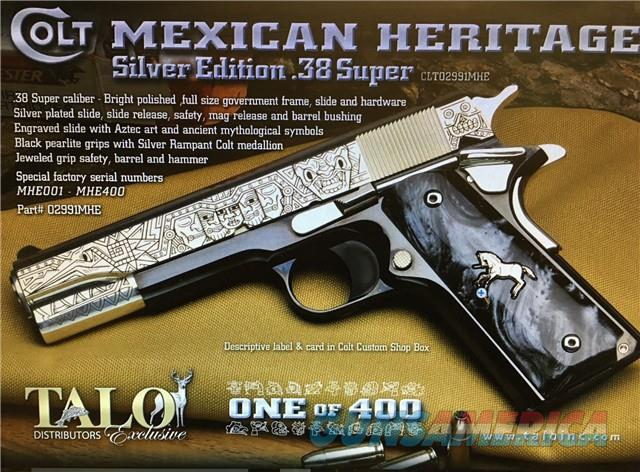 "COLT O2991MHE MEXICAN HERITAGE TALO 38 SUPER 5"" RARE AZTEC SILVER EDITION NIB #? OF 400 02991ME  Guns > Pistols > Colt Automatic Pistols (1911 & Var)"
