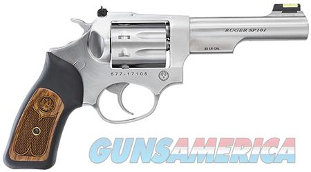 "Ruger SP 101 22 LR 4.2"" 8rd Rubber Wood Insert Grip Satin  SS  Guns > Pistols > Ruger Double Action Revolver > SP101 Type"