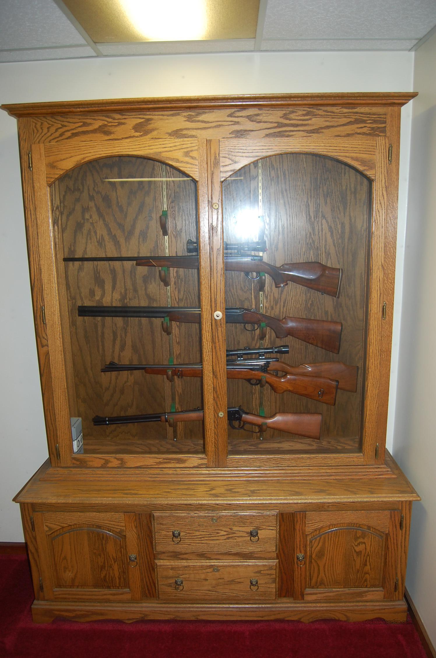 Gun Cabinet,Solid Oak, Holds 10 Guns in Beautiful Display  Non-Guns > Gun Displays/Racks