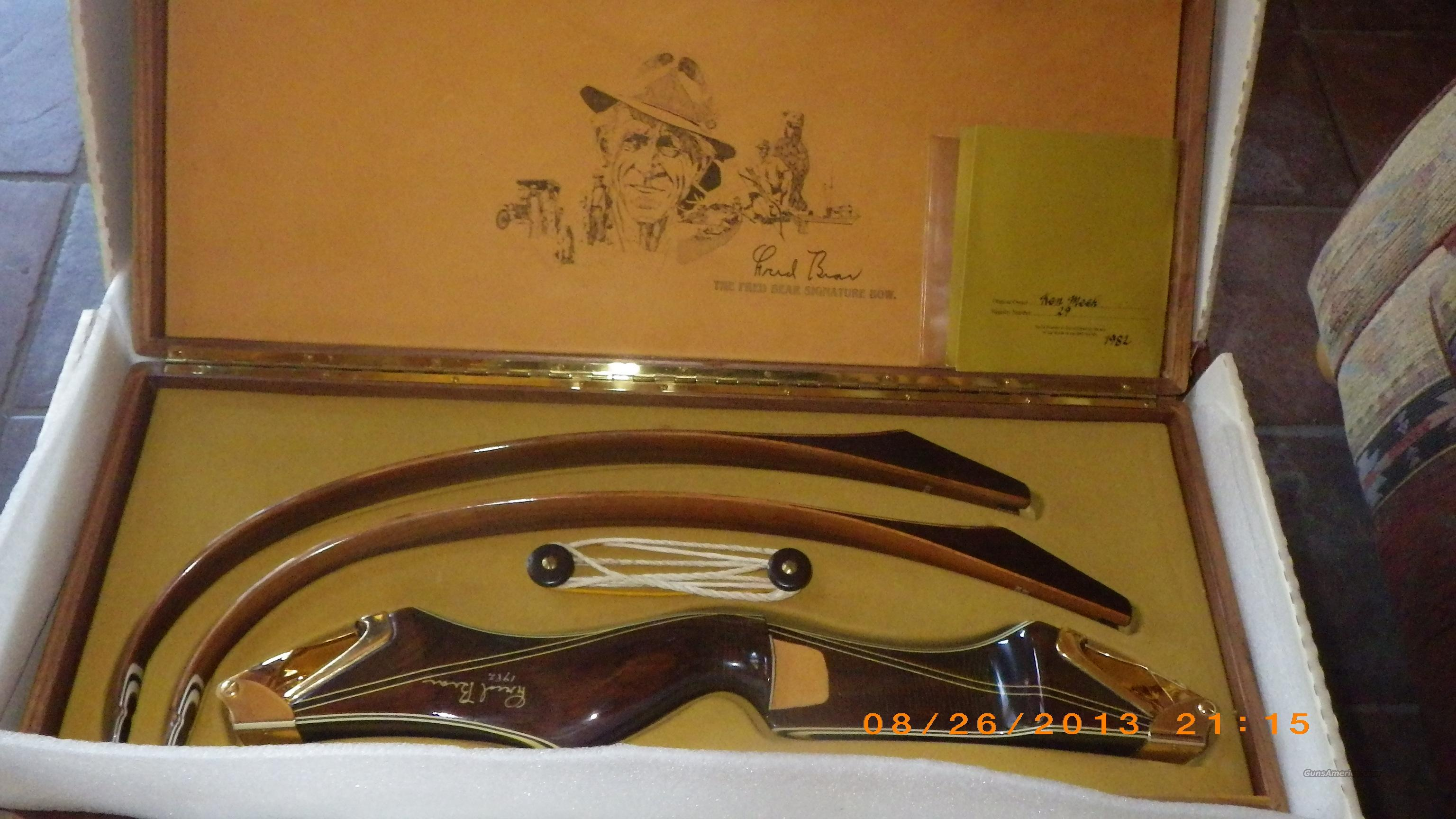 Fred bear signature bow 29 never assembled with wooden case and box
