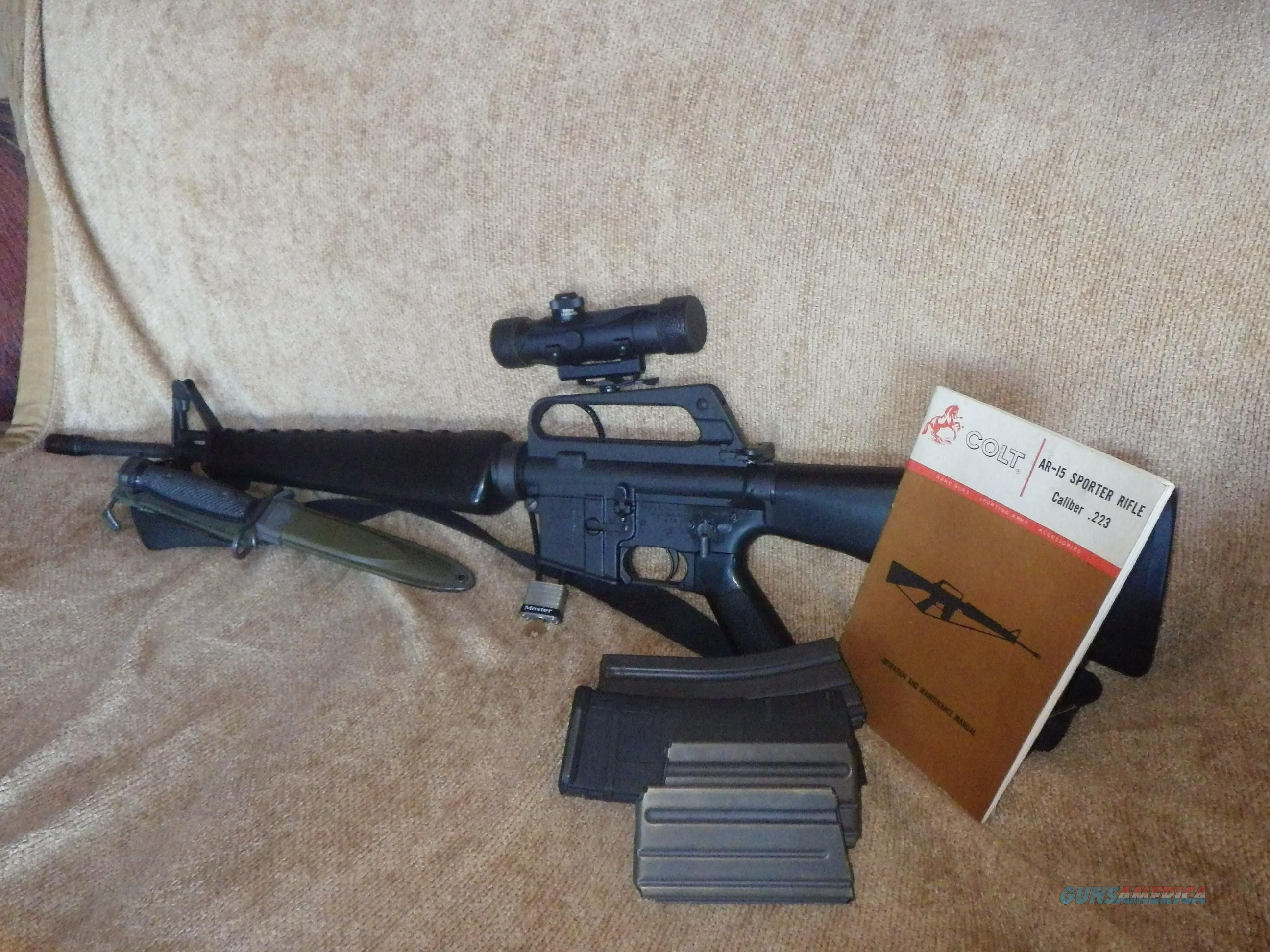 Colt SP1 AR-15 .223 5.56 cal Colt 3x20 Scope and Mount and  Original Manuel  M7  Bayonet And  USM8A1  Sheath Includes   4 Magazines   Guns > Rifles > Colt Military/Tactical Rifles