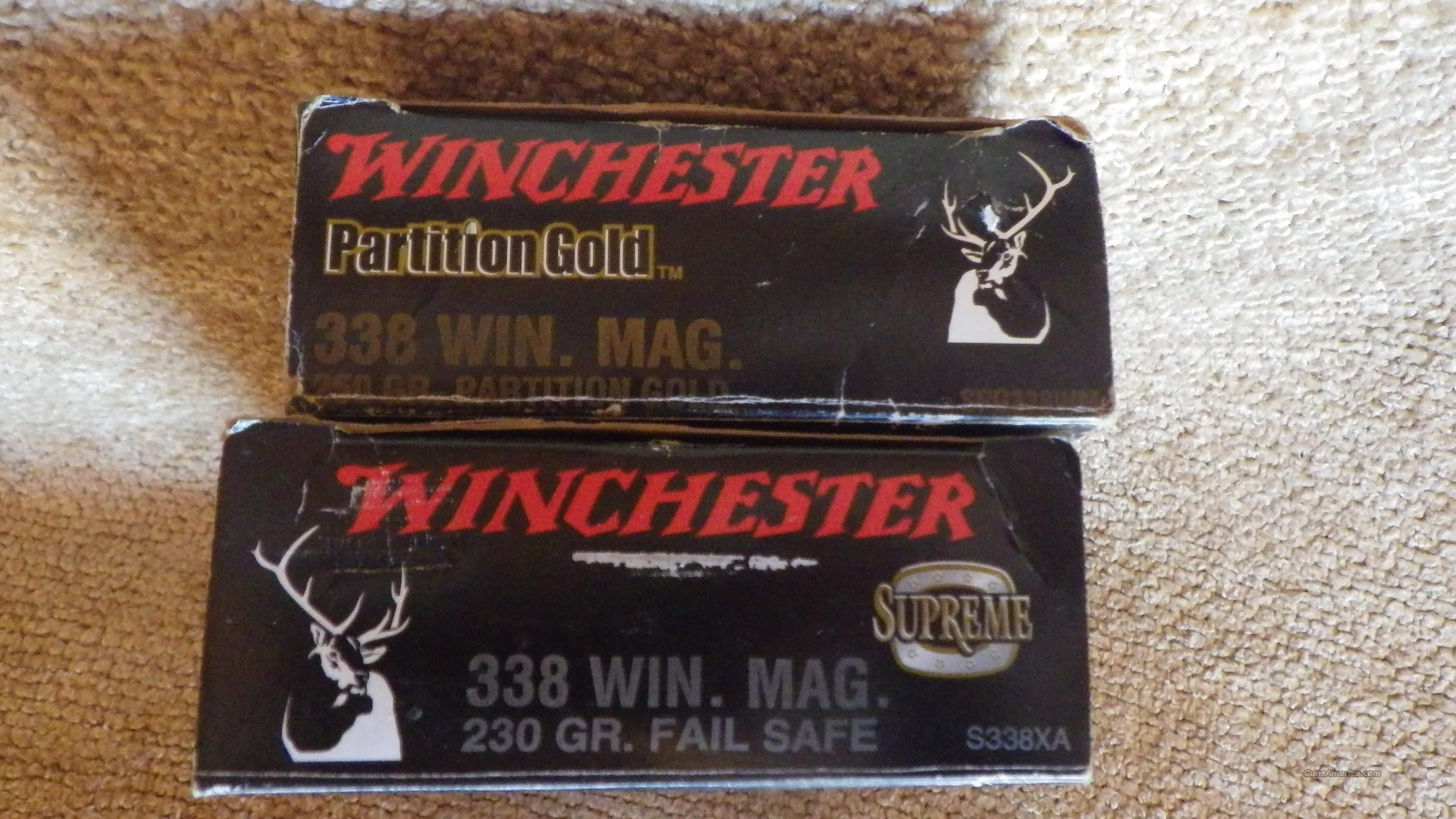 338 Win Mag Ammo 2 Boxes Winchester Supreme Ammo (1) 250 Partition Gold (1) Bx 230 Fail Safe  Non-Guns > Ammunition