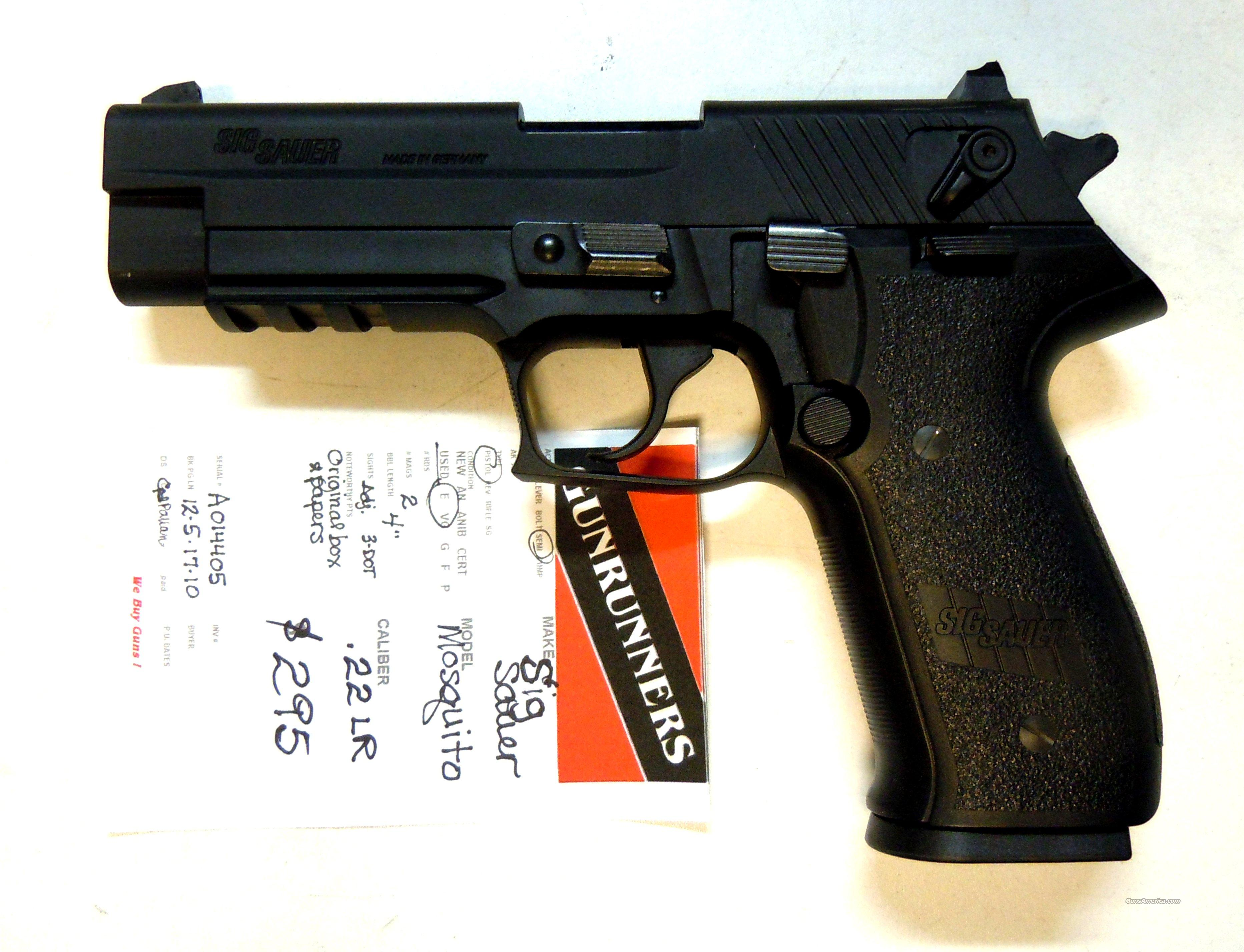 "Sig Mosquito  4""  MOS-22-B black, heavy & light springs, box, papers  Guns > Pistols > Sig - Sauer/Sigarms Pistols > Mosquito"
