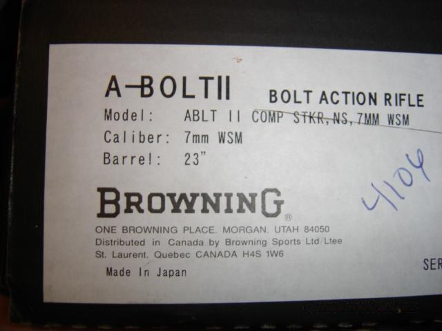 browning a-bolt II 7mmWSM comp stalker   Guns > Rifles > Browning Rifles > Bolt Action > Hunting > Blue
