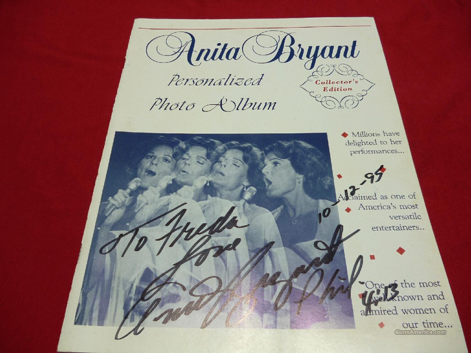 ANITA BRYANT AUTOGRAPHED & DATED PHOTO ALBUM - FREE SHIPPING!  Non-Guns > Hobbies and Collectibles